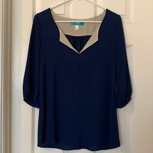 Buttons navy blue blouse